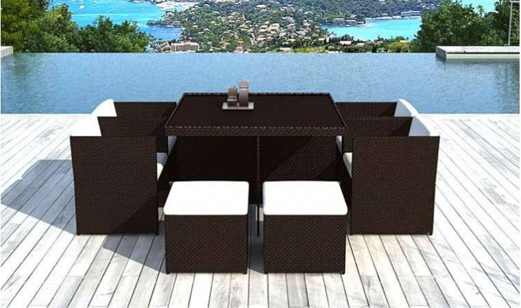 salon de jardin 8 places encastrables en resine tressee chocolat