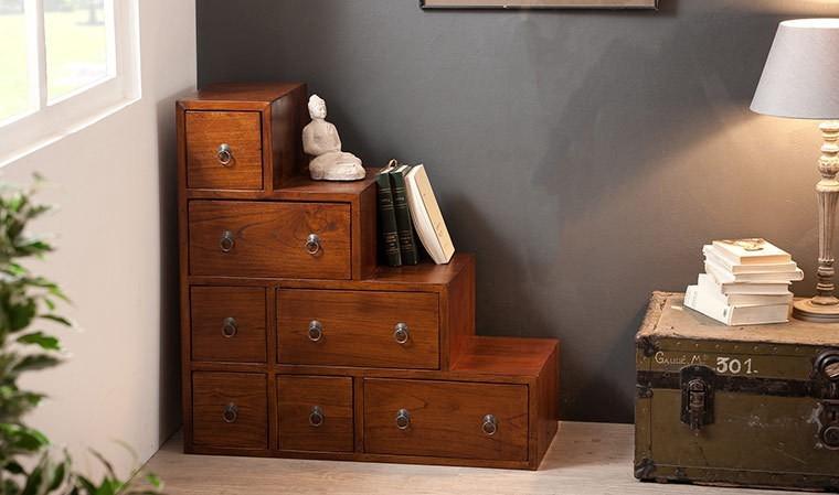 petit meuble en escalier en bois massif exotique milo