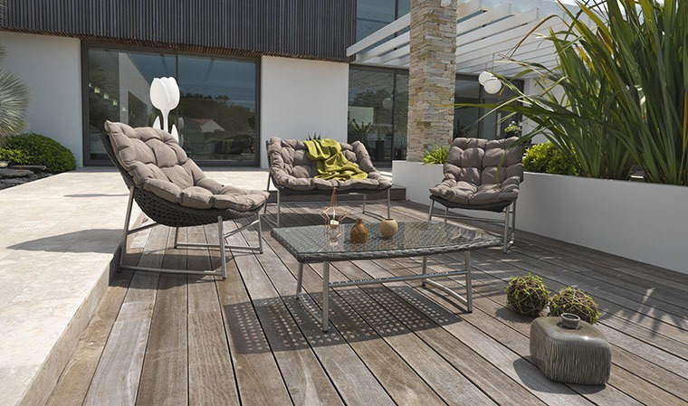 salon bas de jardin design inox et resine marron sidney