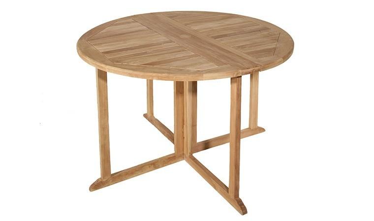 table de jardin ronde et pliante en teck 120 cm delhi