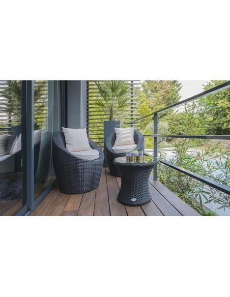 salon jardin empilable 2 places resine tressee noire totem
