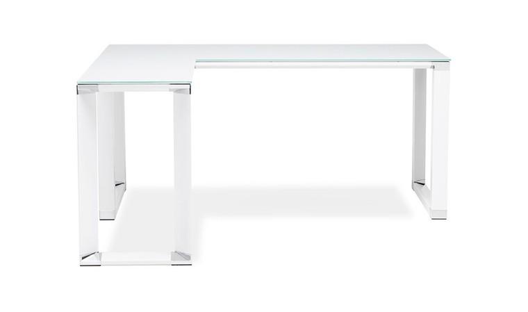 bureau d angle en verre trempe blanc arnold