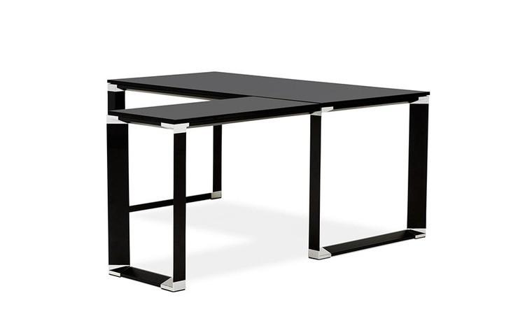 bureau d angle avec plateau melamine noir arnold