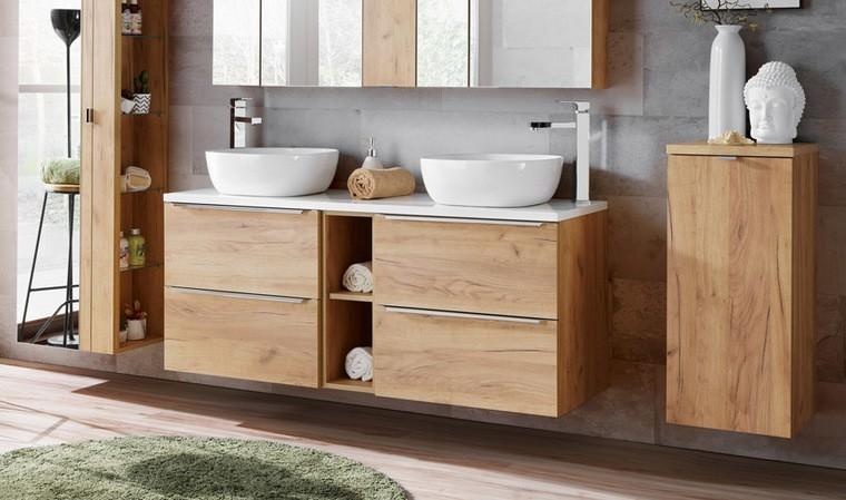 meubles avec deux vasques a poser 140 cm couleur chene caraibes