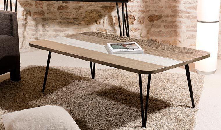 table basse scandinave en bois et metal marin