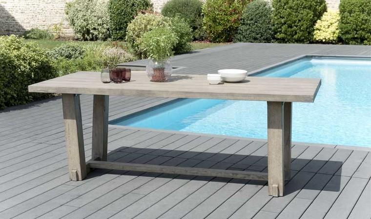 table de jardin massive en teck 200 x 90 cm lumpur