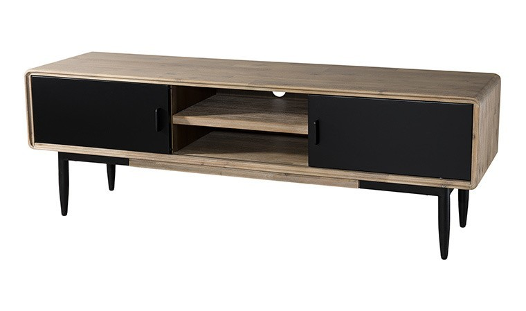 meuble tv en acacia massif et metal noir nero
