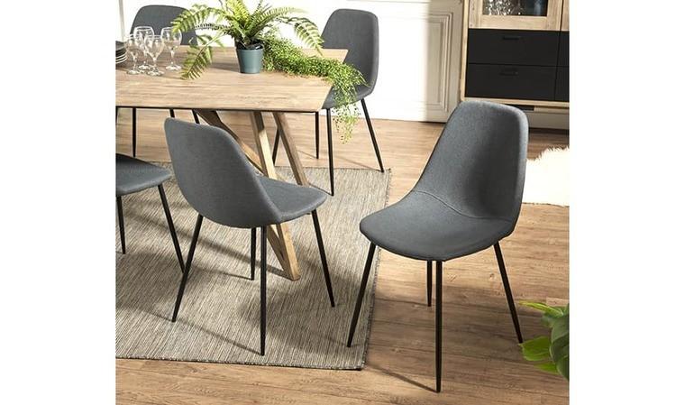 set de 2 chaises en tissu anthracite et metal noir isia