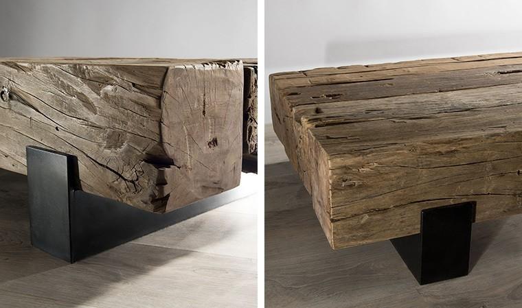 table basse poutre bois teck recycle century