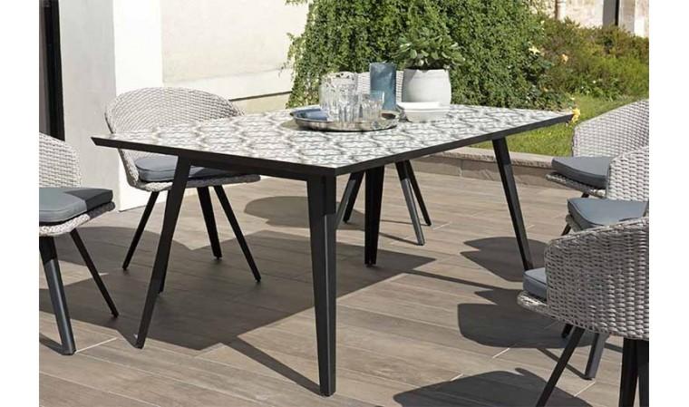 table jardin carreaux de ciment effet mosaique agadir