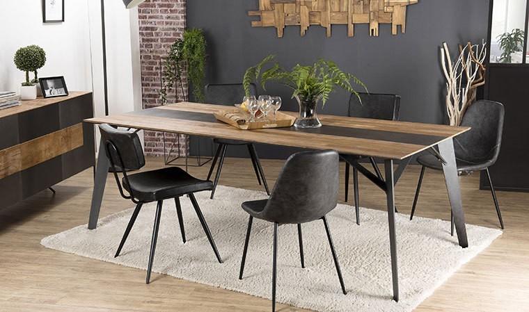 table salle a manger teck et acier 220 cm eastwood