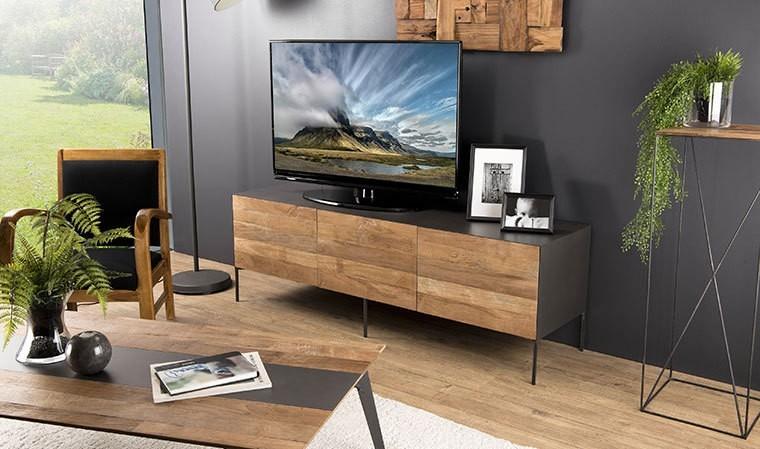 meuble tv en teck recycle et acier eastwood
