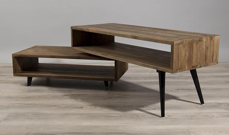 meuble tv pivotant scandinave teck recyle thekku