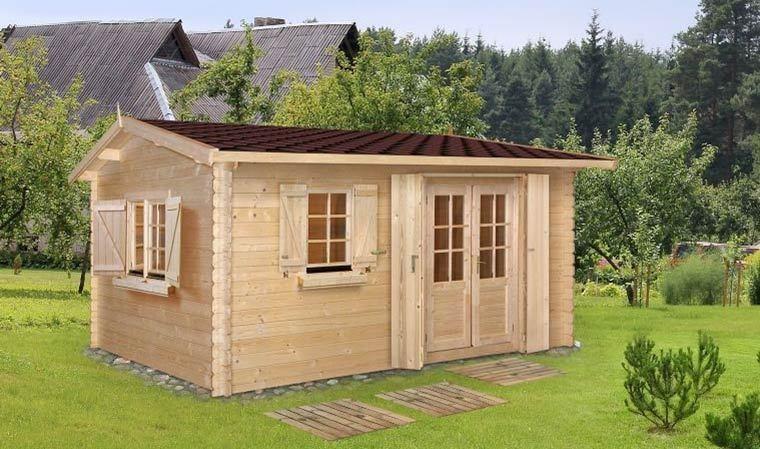 chalet de jardin en bois 18 m2 avec plancher et shingle goumi