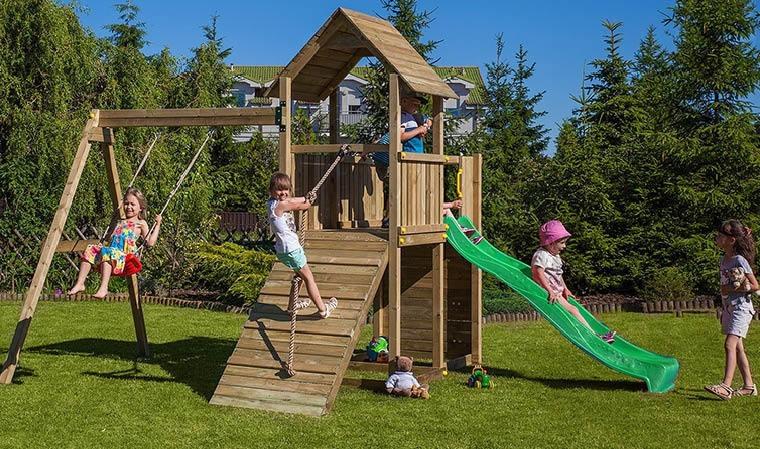 Jeux De Jardin En Bois Avec Toboggan Balanoire Mur D