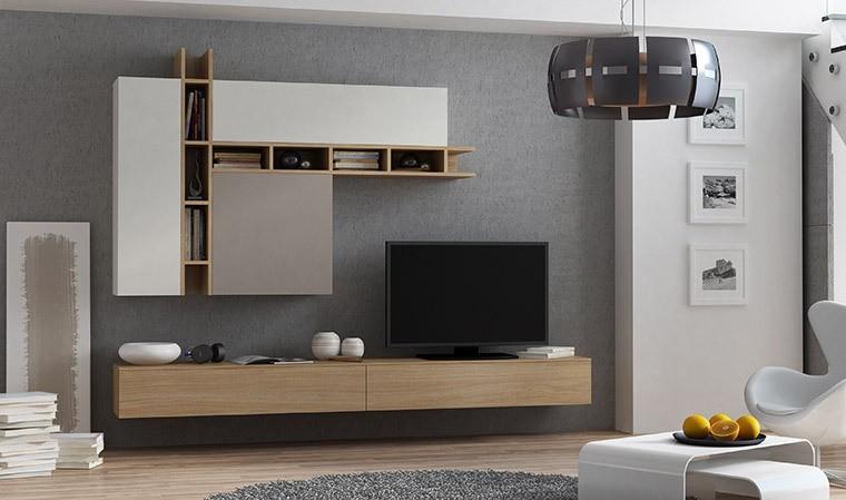 ensemble meuble tv mural chene taupe et gris