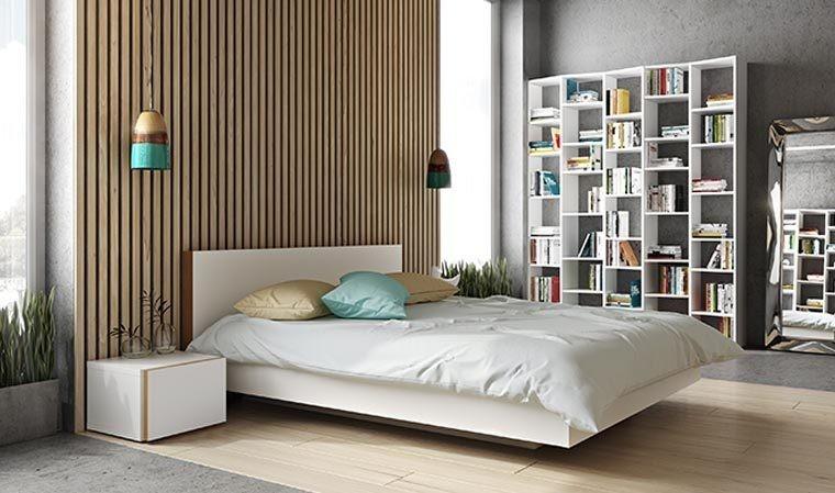 Lit Design En Bois Blanc Mat Queen Size 160x200 En Bois