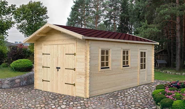 Garage prfrabriqu en bois massif avec bardeau bitumeux  20 m2