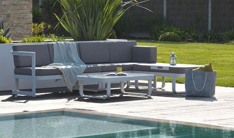 Salon de jardin en angle 6 places alu blanc et tissu gris  Barcelona