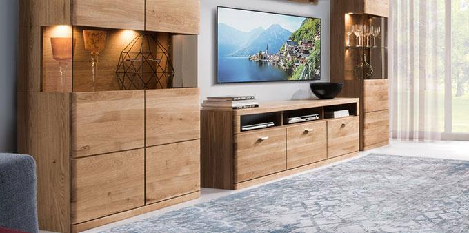 meuble tv moderne en chene naturel 180