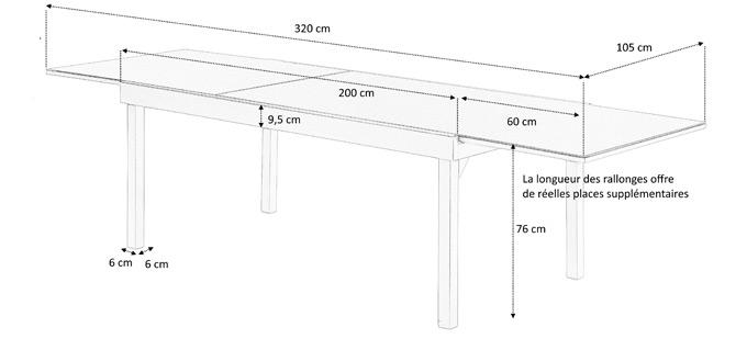 table de jardin rectangulaire avec