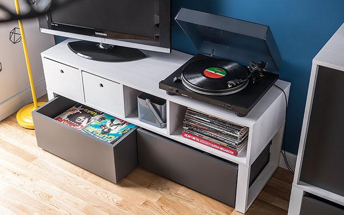 meuble tv ado design en bois blanc avec