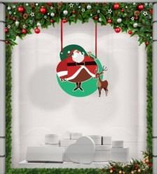 Santa Claus is coming .... Χριστουγεννιάτικα Καρτολίνες κρεμαστές 50x50 cm