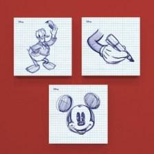 Σκίτσο από στυλό του Μίκυ και του Ντόναλντ! Disney Mini Set καμβάς 25 x 25 cm