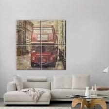 London bus Vintage Multipanel 100x100 cm
