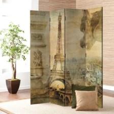 Παριζιάνικο έργο τέχνης σε στυλ ρετρό Vintage Παραβάν 80x180 cm [Δίφυλλο]