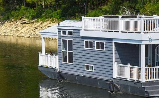 Blue Tiny Houseboat