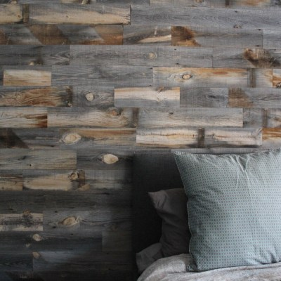 Master Bedroom DIY Feature Wall with Stikwood Weathered Wood