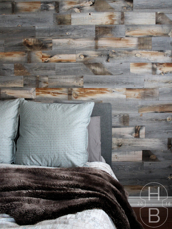 Master Bedroom DIY Feature Wall with Stikwood Weathered Wood | One Room Challenge | House by the Bay Design