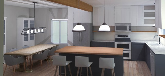 Kitchen Rendering | House by the Bay Design