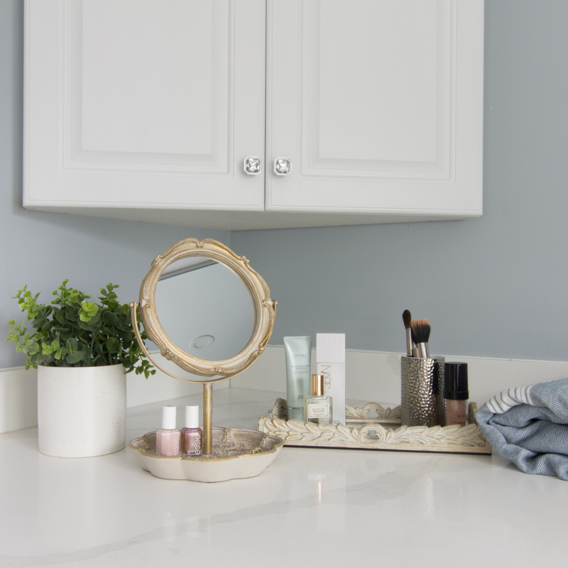 Bathroom makeup tray and mirror