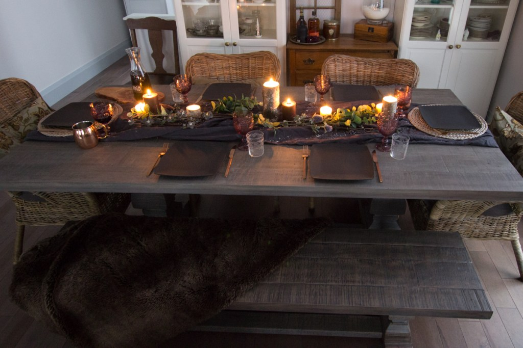 Moody winter dining table decor   House by the Bay Design
