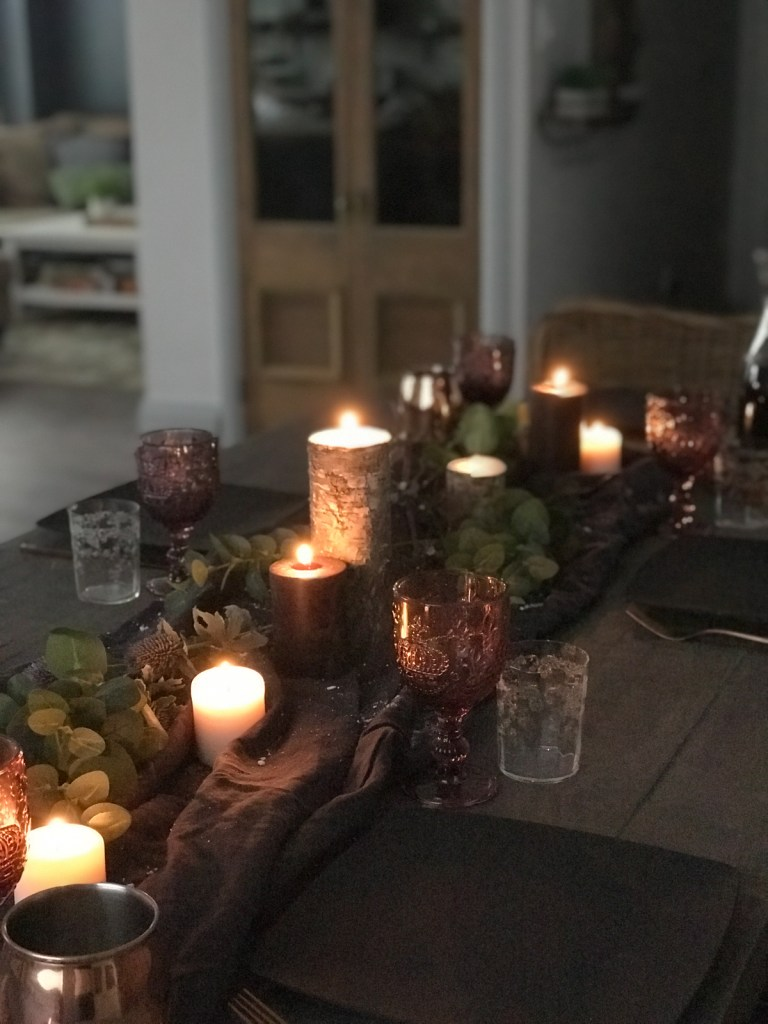candlelit winter dining table decor | House by the Bay Design