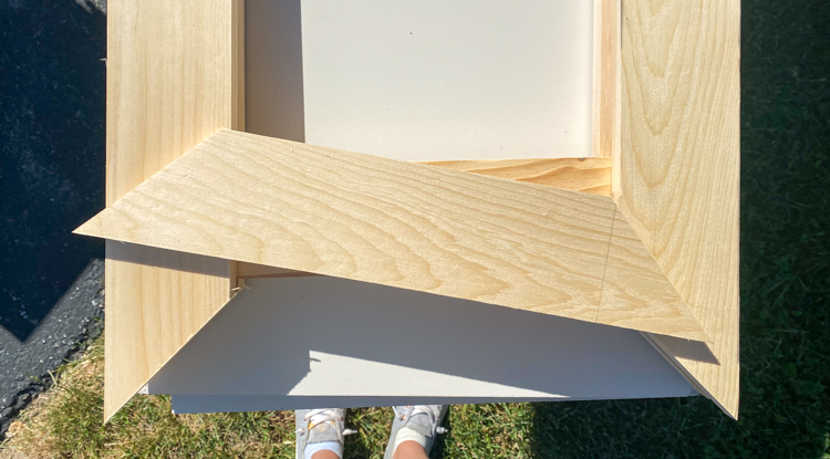 Bookcase door frame pieces cut to 45 degrees