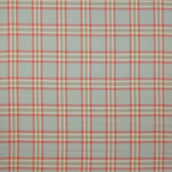 Malone Check Fabric - Tomato Aqua F4518 03 Colefax