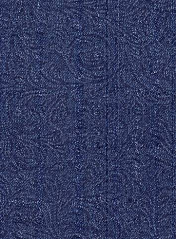 Embossed Paisley Denim Indigo  Fabric By Style  Fabric