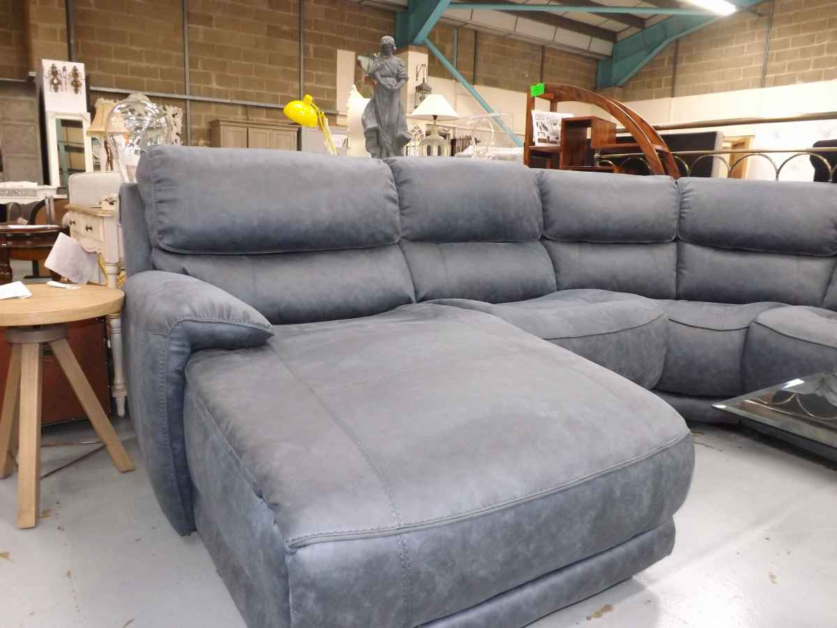 blue suede sofa lillian august sofas motive electric reclining corner chaise