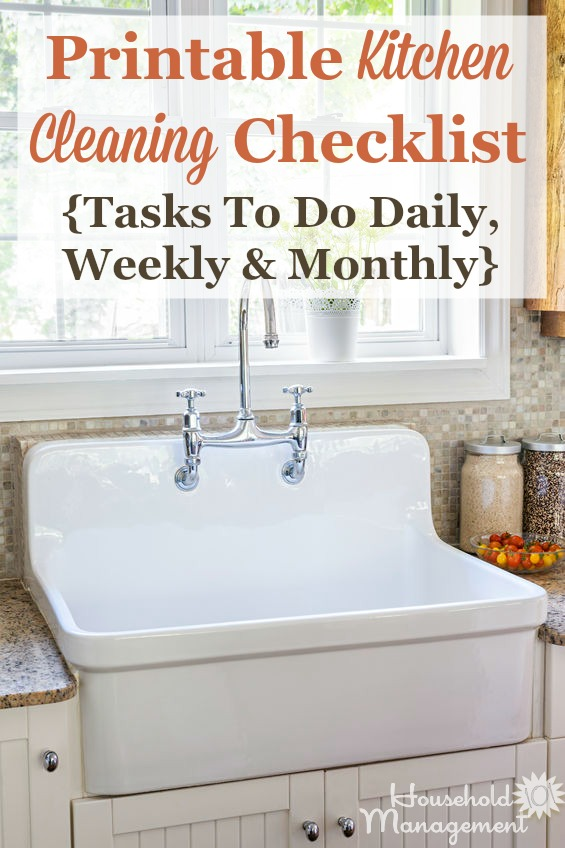 Kitchen Cleaning Checklist  Daily Weekly And Monthly Chores  Printable