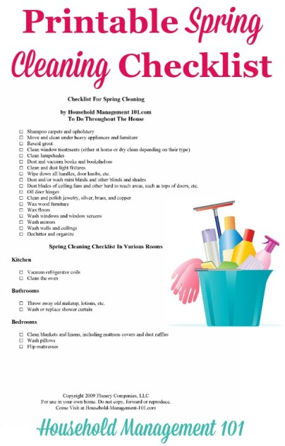 Free printable spring cleaning checklist, courtesy of Household Management 101