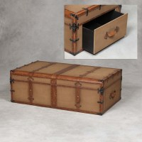 Antiqued Steamer Trunk Style Large Coffee Table Trunk ...