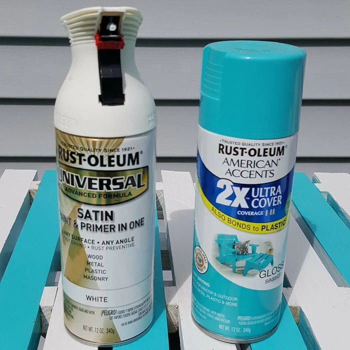 rustoleum-american-accents-ultra-cover-2x-spray-paint-gloss-seaside and Universal All Surface Spray Paint Satin White