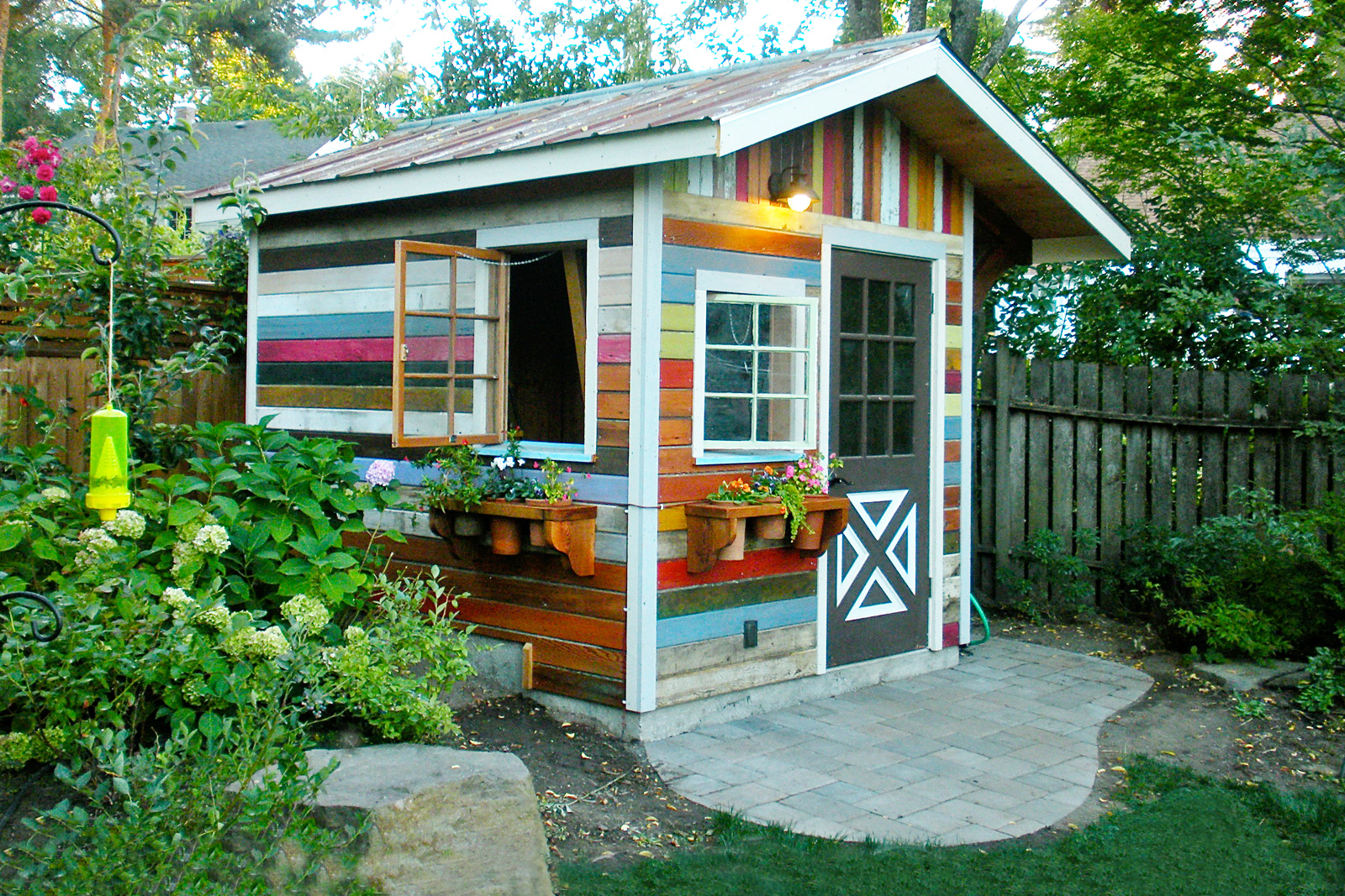 hight resolution of colorful backyard shed