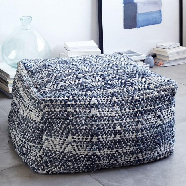 Pouf denim West Elm