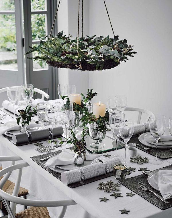 tavola natale scandinavo piante