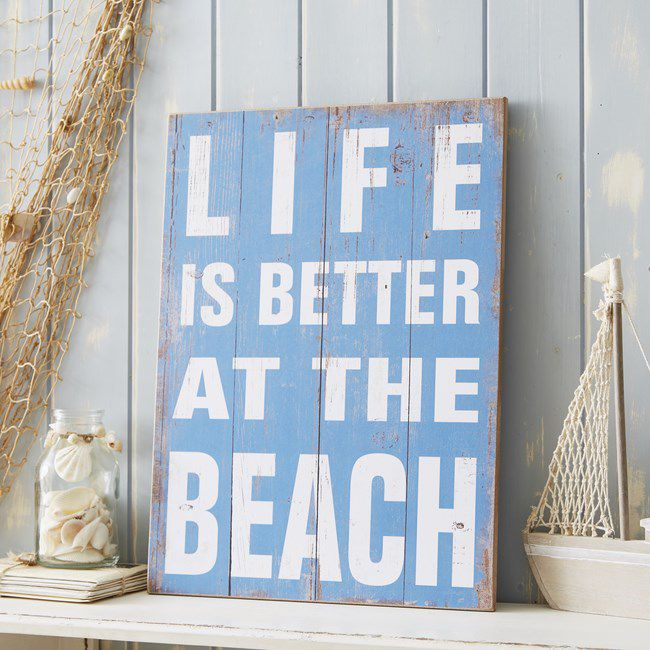 Life Is Better At The Beach cartello bagno stile marinaro