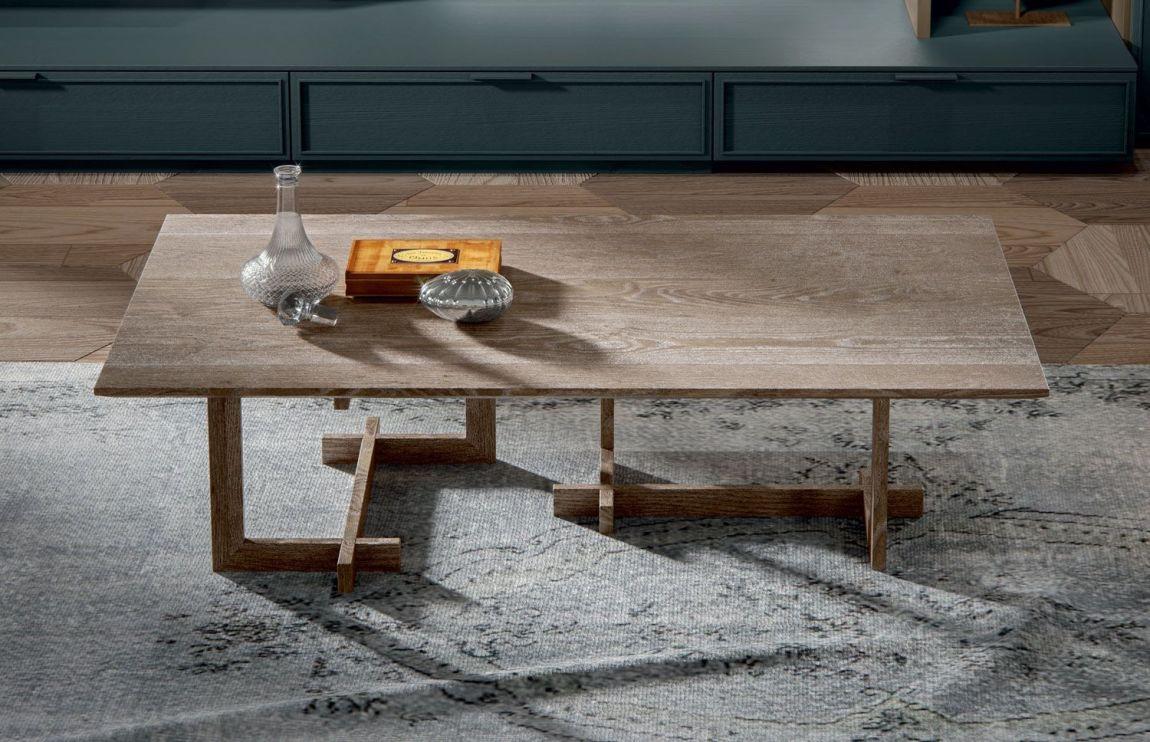 Tavolino da soggiorno rettangolare in legno massello